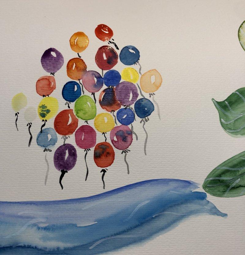 Gemaltes Aquarell-Bild mit Luftballons